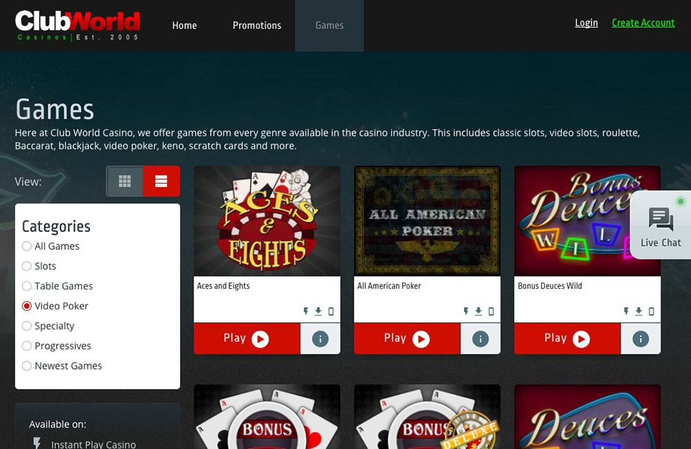Club World Casino Codes
